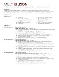Construction Laborer Resume Sample Resume Sample For Construction Worker Blaisewashere Com