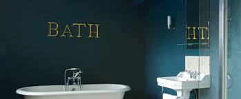 bathroom painted in dark hague blue