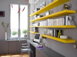 shelves for home office. Floating Shelving Could Add A Color Splash To Bland Environment. Shelves For Home Office E