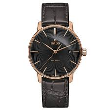 rado men s rose gold plated black leather strap watch ernest jones rado men s rose gold plated black leather strap watch product number 2943883