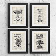 bathroom quotes and sayings vintage book art prints 7c set of four photos 8x10 u on wall decor prints posters with bathroom wall art bath decor vintage prints 4 photo picture poster