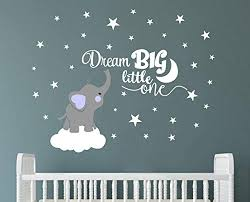 dream big little one elephant wall decal e wall stickers baby room wall decor vinyl wall decals for children baby kids boy girl bedroom nursery