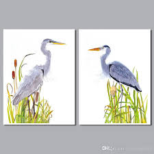 wall arts heron wall art style landscape flowers decoration birds pictures canvas painting for living
