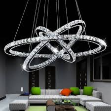 3 diamond ring led crystal pendant light suspension lumiere modern led lighting circle 100 260v