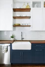 Shelves For Kitchen Cabinets Dark Base Cabinets White Top Cabinets Open Wood Shelves And Big