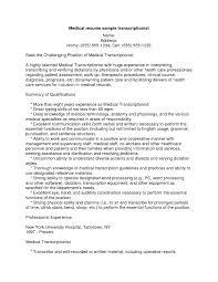 Medical Transcription Resume Samples Sidemcicek Com Transcriptionist