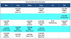 Class Schedule Kensho Martial Arts