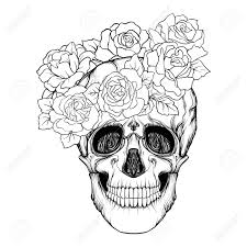 Sugar Skull With Decorative Pattern And A Wreath Of Red Roses
