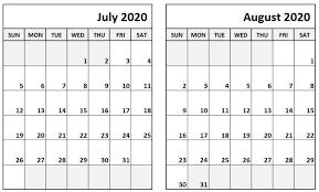 July August 2020 Calendar Printable Templates