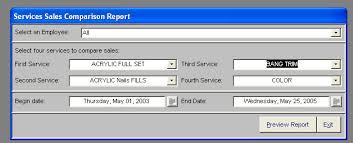 Pos Service Sales Comparison Report For Retail Advantage Pos