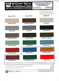 Mbci Color Chart H H Sheet Metal Color Charts