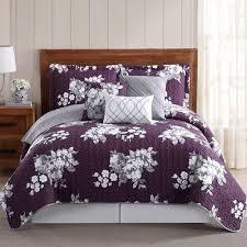 Peony Garden 6 pc Plum Floral Quilt Bed Set & Peony Garden Quilt Bed Set Plum Adamdwight.com