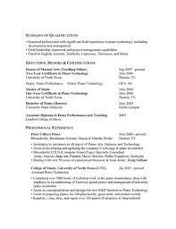 pianist resume sample gallery creawizard com