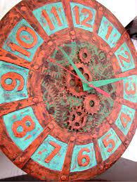modern wall clock copper and patina