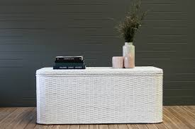 coffee table storage trunk in white naturally cane rattan and wicker furniture