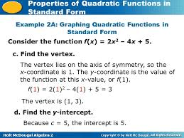 example 2a graphing quadratic functions in standard form