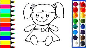 how to draw doll coloring book for kids to learn learn colors