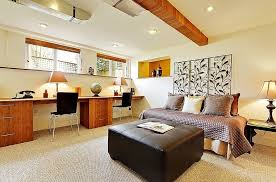 home office in bedroom. Elegant Stylish Basement Home Office With A Place To Rest And Relax In Bedroom