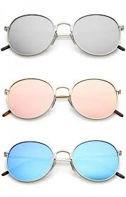 colored mirror round flat lens sunglasses 52mm zoom
