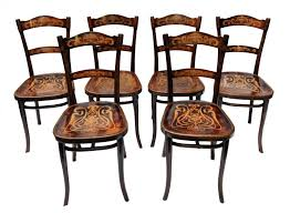 antique decorated bentwood dining chairs from thonet set of 6