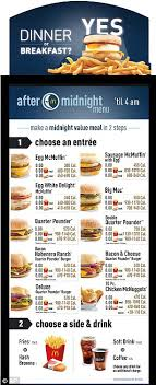Mcdonalds Breakfast Menu Calories Chart Mcdonalds Starts Offering Breakfast And Lunch At Midnight