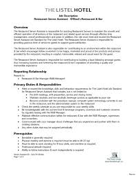 Resume Job Description For Server