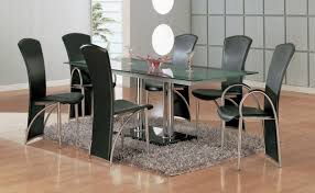 Black Leather Dining Room Chairs Gusta Modern Black Chairs And Glass Top Dining Room Tables