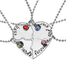 4 pcs set best friends forever rhinestone broken heart shape f necklace