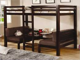 bunk bed with desk underneath and futon