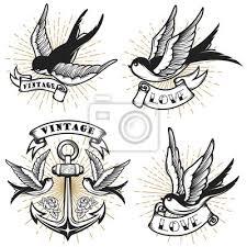 Fototapeta Sada Vintage Stylu Tetování S Lastovička Ptáků Kotva Izolovaných