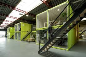 Shipping container office building Backyard Office The Bakery View Down Hall Shipping Container Homes Coworking Offices Are Built Out Of Shipping Containers Inside Old