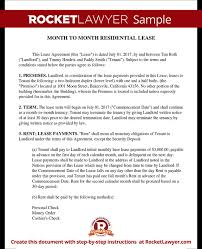 Month-To-Month Lease Agreement - Short-Term Rental Agreement