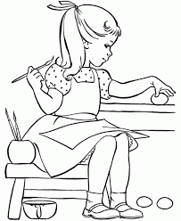 Small Picture Little Girl Painting Easter Egg Coloring Pages coloring books
