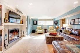 Living Room With Leather Sofa Light Blue Living Room With Leather Furniture Set Beige Carpet