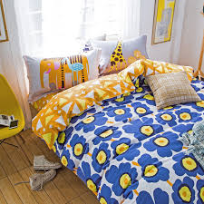 blue yellow flower garder bed linens kids girl 100 cotton duvet cover queen full size bedding
