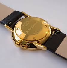 pvd gold watch with fullgrain leather strap