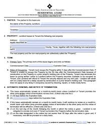 Renters Lease Application Free Texas Residential Lease Agreement Pdf Word Doc