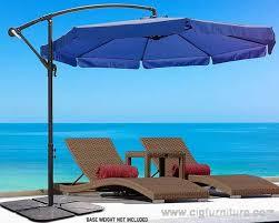 new blue 3m outdoor umbrella metal cantilever deck patio w base