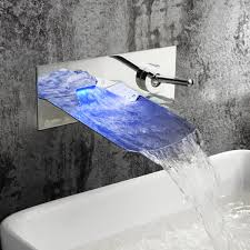 leo bathroom wall mounted sink faucet led color changable waterfall brass chrome us