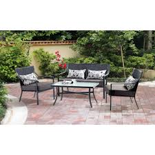 mainstays alexandra square 4 piece patio conversation set grey with leaves seats 4 walmart