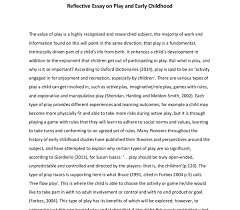reflective essay on play and early childhood university  document image preview