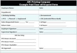 Paid Time Off Form Template Days Off Request Form Nanciebenson Co