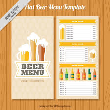 Brewery Menu With Different Kinds Of Beers Vector | Free Download