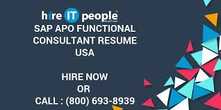 Sap Apo Functional Consultant Resume Hire It People We Get It Done