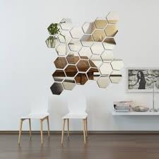 diy 3d home mirror hexagon vinyl removable wall sticker decal art