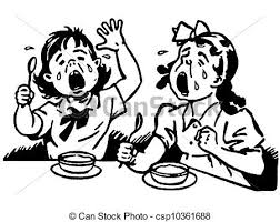 dinner table clipart black and white. a black and white version of two young girls at dinner table both crying in clipart