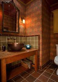 Warm, Low Lit Bathroom With Red ...