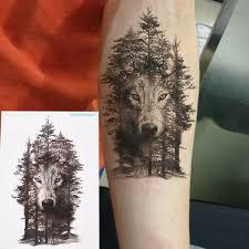 1 шт водостойкая временная татуировка наклейка волк лес животное дерево с пером