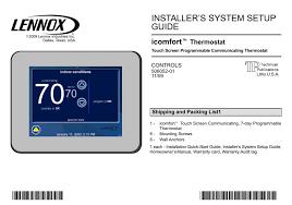 lennox touchscreen thermostat manual. lennox touchscreen thermostat manual t