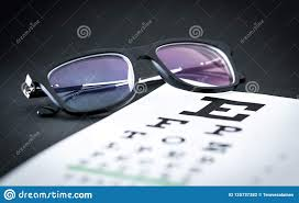 Eyesight Vision Chart Eye Test And Sight Exam Concept Glasses On Letter Chart